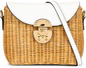 Miu Miu Willow Shoulder Bag in Miele & White | FWRD
