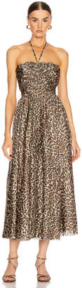 Zimmermann Suraya Ruched Leopard Dress in Khaki Leopard | FWRD