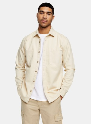 Topman Ecru Two Pocket Twill Slim Shirt