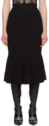 Alexander McQueen Black Cable Knit Pencil Skirt