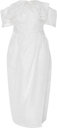 Carolina Herrera Bridal Harley Off-The-Shoulder Bow-Embellished Silk Midi Dress
