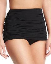 Norma Kamali Bill High-Waist Shirred Swim Bottom, Black