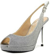 J. Renee Olive Women Peep-toe Patent Leather Silver Slingback Heel.