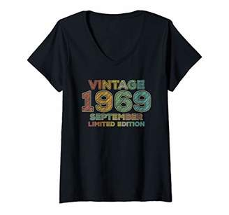 Womens 50th Birthday Gift Vintage September 1969 Fifty Years Old V-Neck T-Shirt