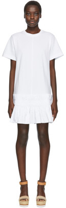 See by Chloe White Pleated Hem T-Shirt Dress