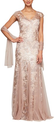 Alex Evenings Sequin Embroidered Trumpet Gown