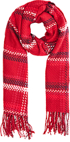 Oasis Preppy Check Scarf, Red/Monochrome