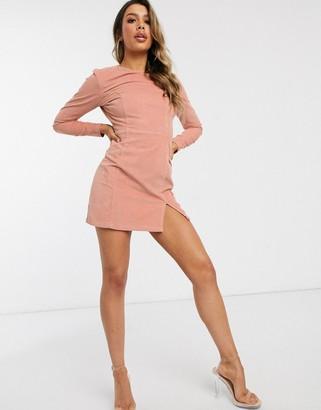 Asos Design DESIGN cord mini dress with split front in light pink