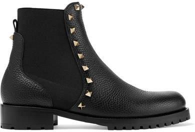 Valentino Garavani The Rockstud Textured-leather Chelsea Boots - Black