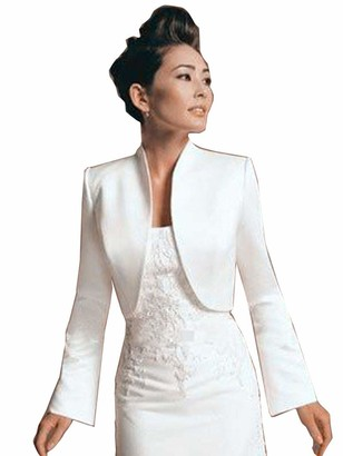Ab.Mall Women Wedding Satin Bolero Long Sleeve Jackets Elegant Bridal Jackets Wraps White