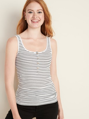 Old Navy Fitted Rib-Knit Henley Tank for Women