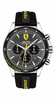 Ferrari Men's Pilota Stainless Steel Quartz Watch with Silicone Strap