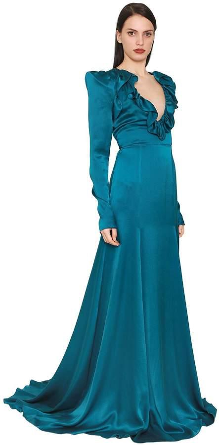 DANIELE CARLOTTA Ruffled Silk Satin Dress