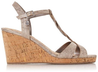Dune London Koala Plait Tbar Strap Cork Wedge Heel Sandals