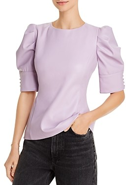 Aqua Faux-Leather Puff-Sleeve Top - 100% Exclusive