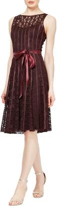 SL Fashions Lace Satin Stripe Dress
