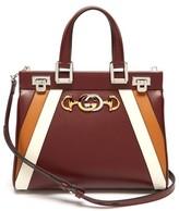 Gucci Zumi Small Striped Leather Handbag - Womens - Burgundy Multi