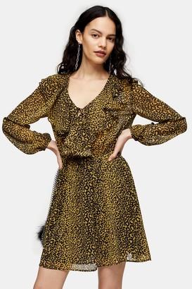 Topshop Mustard Animal Print Ruffle Mini Dress