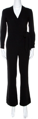 Diane von Furstenberg Black Crepe Belted Jumpsuit XS