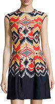 Gabby Skye Printed A-Line Dress, Tomato/Navy