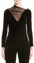 Armani Collezioni Women's Tulle Neck Velvet Top