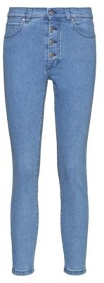 HUGO BOSS Lou Skinny Fit Cropped Jeans With Exposed Button Fly - Turquoise
