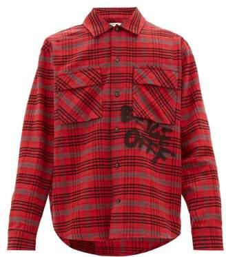 Off-White Off White Logo-graffiti Checked-flannel Shirt - Mens - Red Multi
