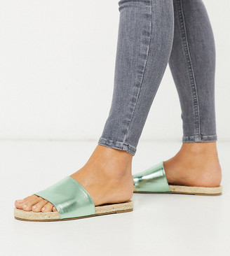 ASOS DESIGN Wide Fit Jagger espadrille mules in green metallic