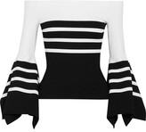 Rosetta Getty Off-the-shoulder Striped Stretch-jersey Top - White