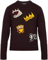 Dolce & Gabbana Motif-appliqué wool sweater