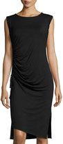Bobeau Gathered Knit Midi Dress, Black