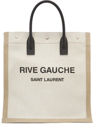 Saint Laurent Off-White and Tan Rive Gauche Shopping Tote