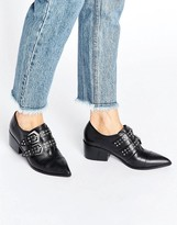 Office Fly By Buckle Strap Leather Point Mid Heeled Shoes