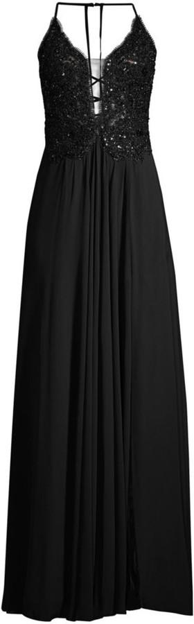 Faviana Chiffon Beaded Lace Gown