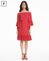 White House Black Market Petite Coral Off-the-Shoulder Flounce Dress