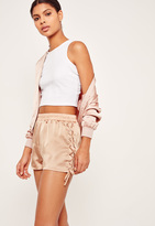 Missguided Lace Up Side Satin Shorts Nude