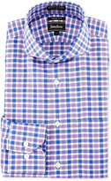 Neiman Marcus Trim-Fit Non-Iron Check Dress Shirt, Purple/Blue