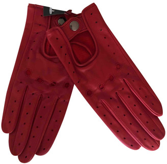 Autre Marque Red Leather Gloves