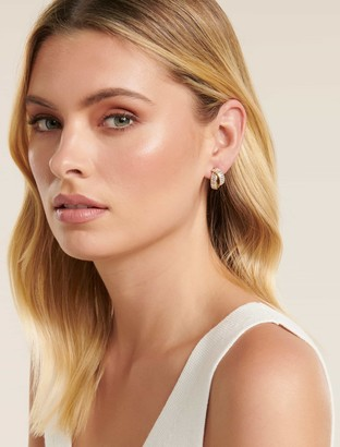 Forever New Ellen Pave Cross Mini Hoop Earrings - Gold - 00