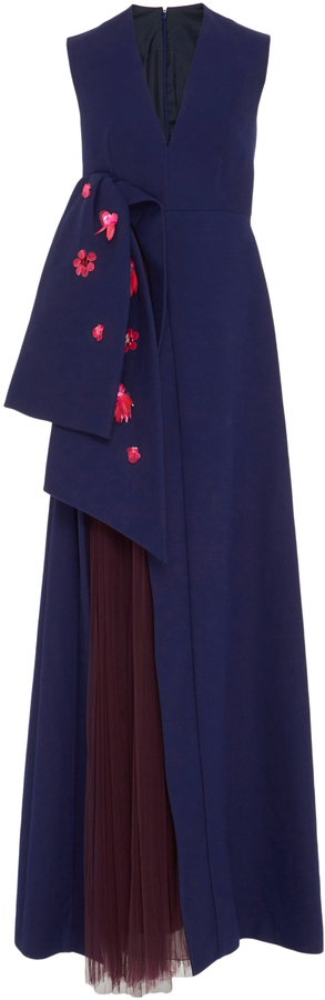 DELPOZO Sleeveless Gown with Front Bow