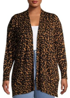 Terra & Sky Women's Plus Size Everyday Essential Leopard Print Open-Front Cardigan