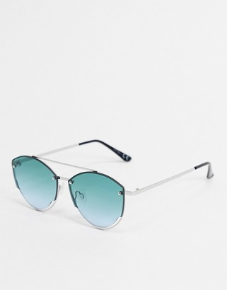 Jeepers Peepers round sunglasses in silver with lens cut out