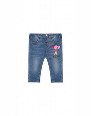 Moschino Heart Balloons Teddy Bear Jeans Unisex Blue Size 2a