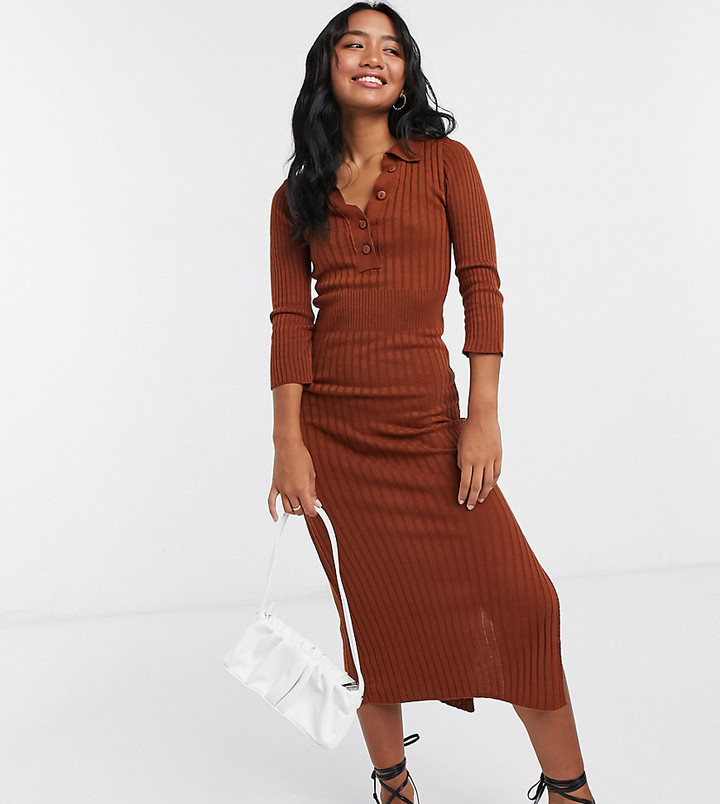ASOS DESIGN Petite knitted dress with collar detail in brown
