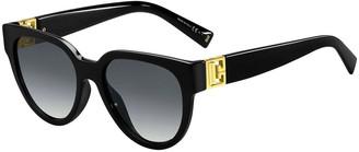 Givenchy Round Acetate Sunglasses w/ Cutout Metal Logo