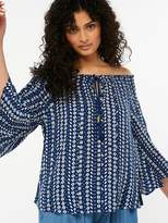 Monsoon Mae Beach Off The Shoulder Top - Navy