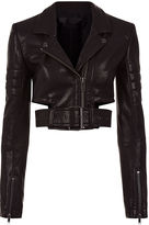 Haider Ackermann Black Leather Cropped Biker Jacket