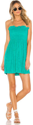 Indah Mercy Solid Strapless Mini Dress