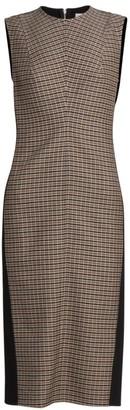 Victoria Beckham Plaid-Front Sheath Dress