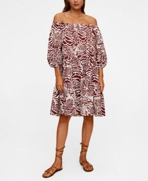 MANGO Women's Printed Off-Shoulder Dress